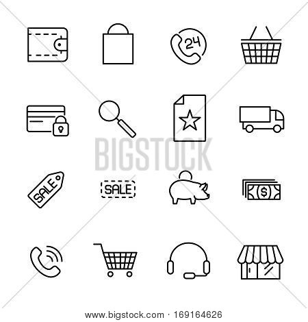 Set of e-commerce icons in modern thin line style. High quality black outline shopping symbols for web site design and mobile apps. Simple e-commerce pictograms on a white background.