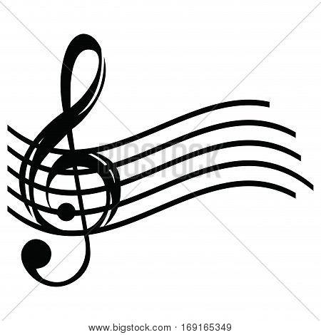 Isolated musical pentagram on a white background, Vector illustration