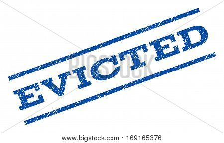 Evicted watermark stamp. Text tag between parallel lines with grunge design style. Rotated rubber seal stamp with unclean texture. Vector blue ink imprint on a white background.