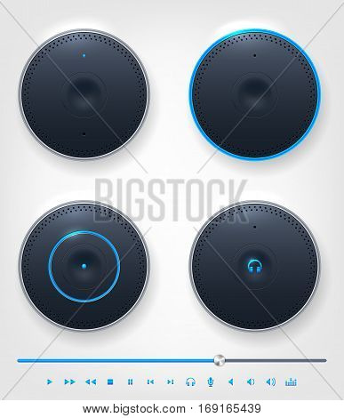 Set of glossy shiny button and icons on theme of audio video etc. Vector illustration.