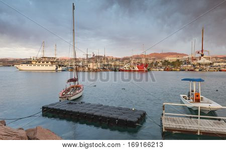 Morning at central marina of Eilat - number one resort and recreational city in Israel located on the Red Sea