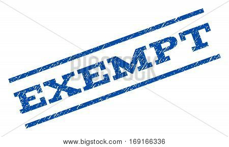 Exempt watermark stamp. Text caption between parallel lines with grunge design style. Rotated rubber seal stamp with unclean texture. Vector blue ink imprint on a white background.