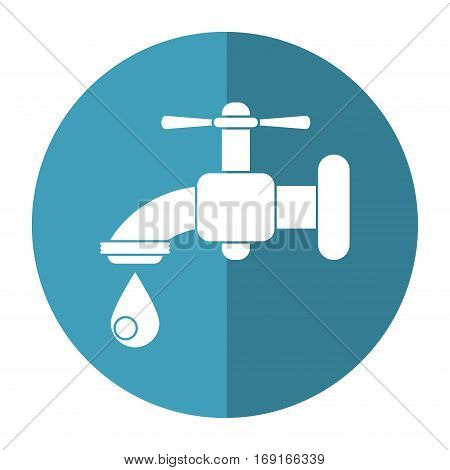 dripping faucet water recycle ecologic-shadow circle vector illustration eps 10