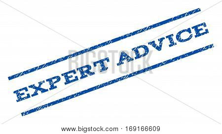 Expert Advice watermark stamp. Text caption between parallel lines with grunge design style. Rotated rubber seal stamp with dust texture. Vector blue ink imprint on a white background.