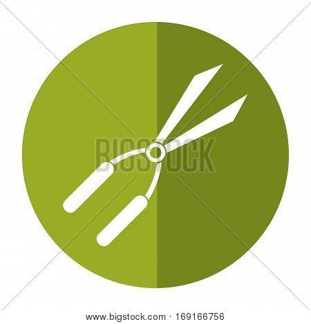 garden scissors tool -shadow circle vector illustration eps 10