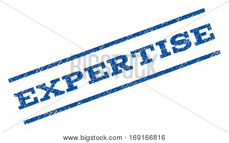 Expertise watermark stamp. Text tag between parallel lines with grunge design style. Rotated rubber seal stamp with dust texture. Vector blue ink imprint on a white background.