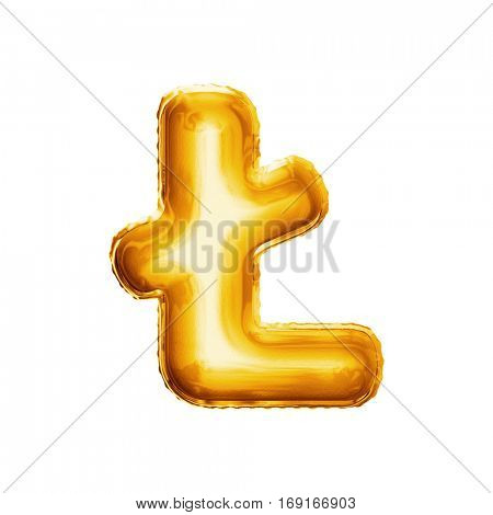 Balloon letter L with stroke. Realistic 3D isolated gold helium balloon abc alphabet Polish language golden font text. Decoration element for birthday or wedding greeting design on white background
