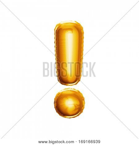 Balloon exclamation mark. Realistic 3D isolated gold helium balloon abc alphabet symbol and sign golden font text. Decoration element for birthday or wedding greeting design on white background