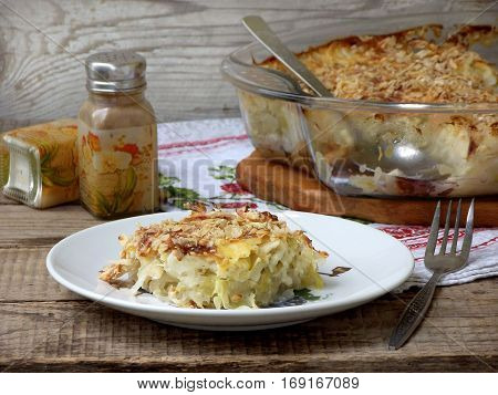 Casserole With Cabbage Or Gratin Under A Cheese Crust