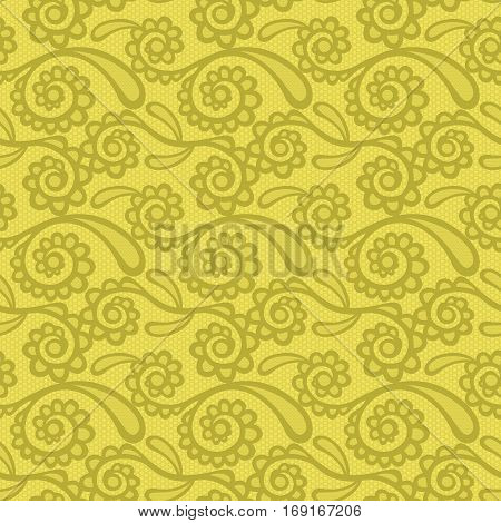 Floral mehendi pattern ornament. Vector illustration mehendi pattern in asian textile style india tribal ornate. Ethnic yellow ornamental lace vintage mehendi pattern mandala abstract textile