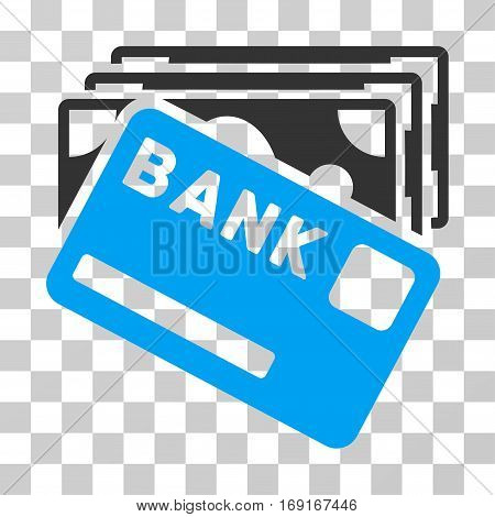 Credit Money icon. Vector illustration style is flat iconic bicolor symbol blue and gray colors transparent background. Designed for web and software interfaces.