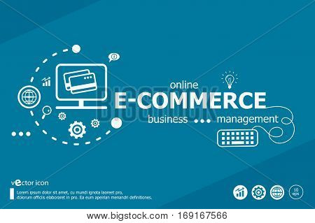 E-commerce Word Cloud And Marketing Concept. Infographic Business.