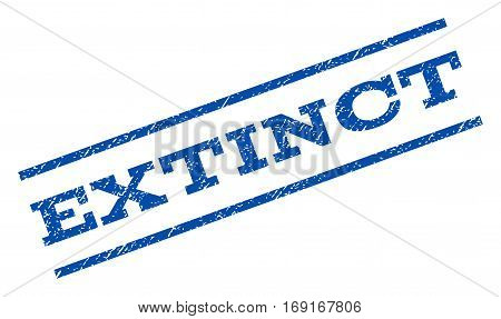 Extinct watermark stamp. Text caption between parallel lines with grunge design style. Rotated rubber seal stamp with unclean texture. Vector blue ink imprint on a white background.