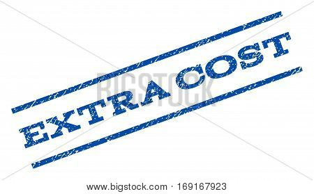 Extra Cost watermark stamp. Text caption between parallel lines with grunge design style. Rotated rubber seal stamp with scratched texture. Vector blue ink imprint on a white background.