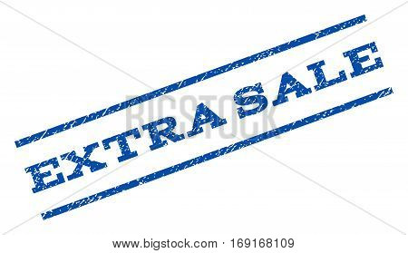 Extra Sale watermark stamp. Text tag between parallel lines with grunge design style. Rotated rubber seal stamp with scratched texture. Vector blue ink imprint on a white background.