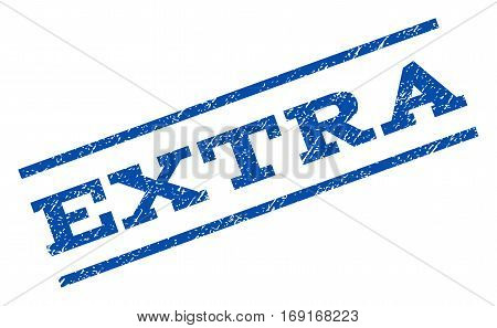 Extra watermark stamp. Text caption between parallel lines with grunge design style. Rotated rubber seal stamp with dust texture. Vector blue ink imprint on a white background.