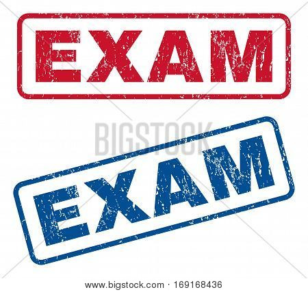 Exam text rubber seal stamp watermarks. Vector style is blue and red ink caption inside rounded rectangular banner. Grunge design and scratched texture. Blue and red stickers.