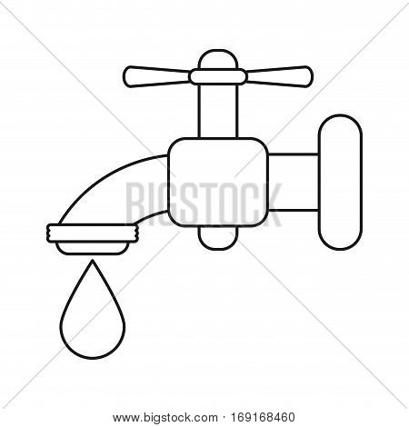 dripping faucet water recycle ecologic thin line vector illustration eps 10