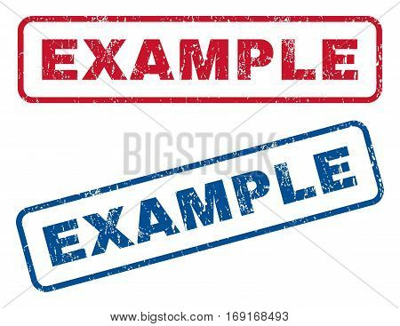 Example text rubber seal stamp watermarks. Vector style is blue and red ink caption inside rounded rectangular banner. Grunge design and dirty texture. Blue and red stickers.