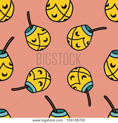 Seamless tea pattern with calabash and bombilla.