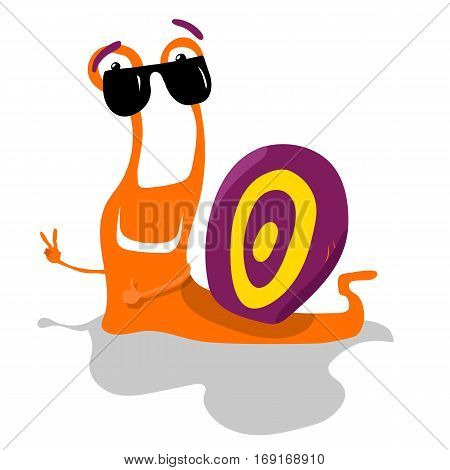 Cartoon cute color snail vector illustration isolated on white background