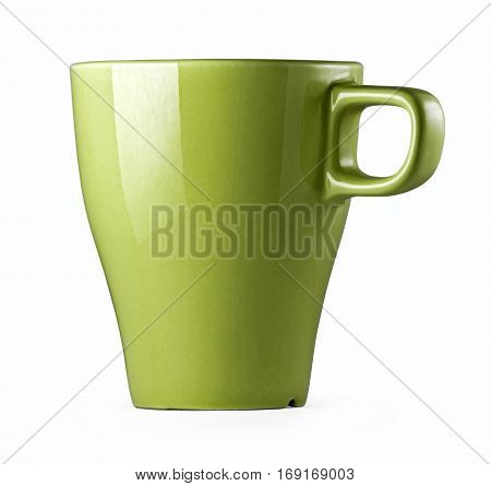 Mug, stoneware green. Green cup for tea coffee or juice in three views. Green cup isolated on white background with clipping path.