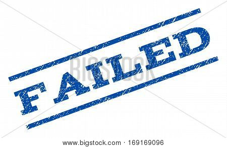 Failed watermark stamp. Text tag between parallel lines with grunge design style. Rotated rubber seal stamp with dirty texture. Vector blue ink imprint on a white background.