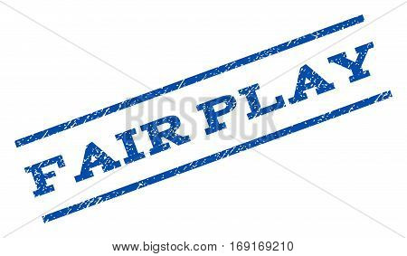 Fair Play watermark stamp. Text tag between parallel lines with grunge design style. Rotated rubber seal stamp with unclean texture. Vector blue ink imprint on a white background.