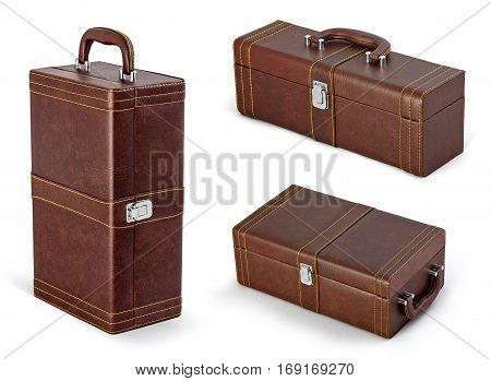 Beige suitcase, bag for New Year and Christmas gifts isolated on white background. Case with handle set for wine with clipping path.