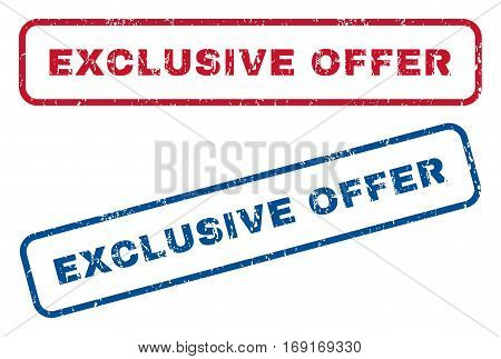 Exclusive Offer text rubber seal stamp watermarks. Vector style is blue and red ink caption inside rounded rectangular banner. Grunge design and dust texture. Blue and red stickers.