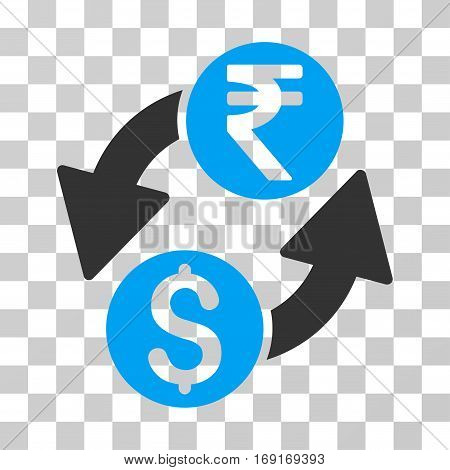 Dollar Rupee Exchange icon. Vector illustration style is flat iconic bicolor symbol blue and gray colors transparent background. Designed for web and software interfaces.