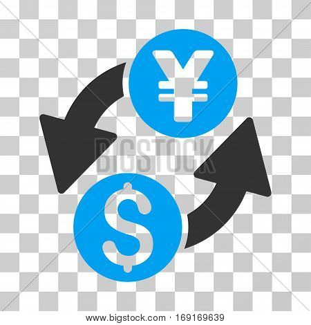 Dollar Yen Exchange icon. Vector illustration style is flat iconic bicolor symbol blue and gray colors transparent background. Designed for web and software interfaces.