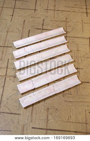 fragments of skirting for floor ceramic tiles