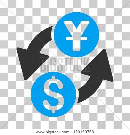 Dollar Yuan Exchange icon. Vector illustration style is flat iconic bicolor symbol blue and gray colors transparent background. Designed for web and software interfaces.