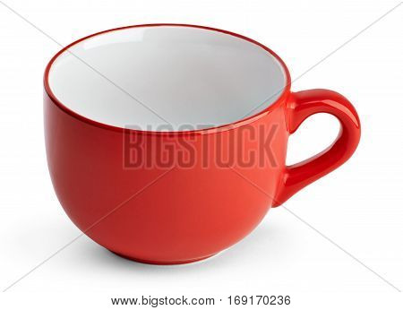 Big red mug. Red cup for tea juice or soup. Red cup isolated on white background with clipping path.