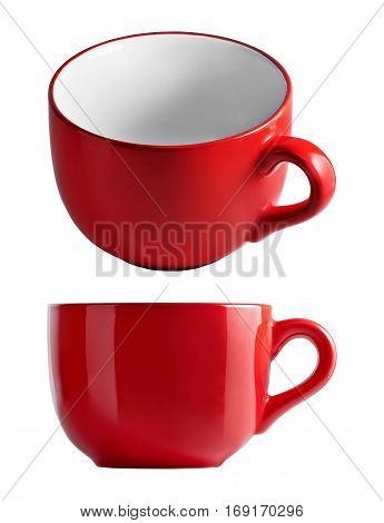 Big red mug in front and top view. Red cup for tea juice or soup. Red cup isolated on white background with clipping path.