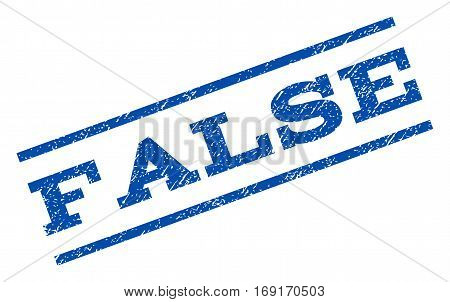 False watermark stamp. Text tag between parallel lines with grunge design style. Rotated rubber seal stamp with dirty texture. Vector blue ink imprint on a white background.