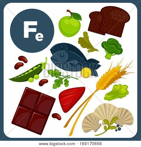 Set with illustrations of food with mineral Fe. Ingredients for health: bread, liver, chocolate, fish, broccoli. Healthy nutrition, diet with product iron sources. Vector icons in cartoon design