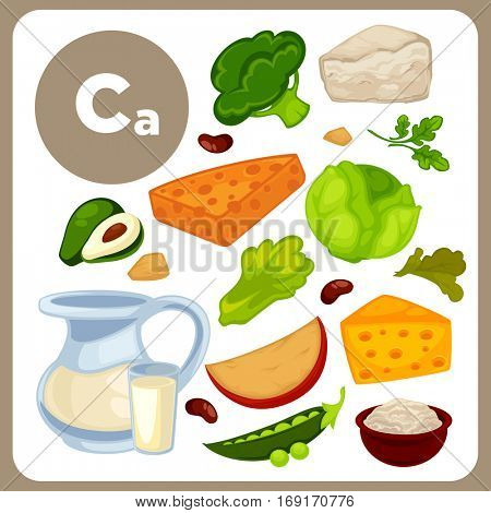 Set with illustrations of food with Ca. Ingredients with minerals for health: cheese, milk, nuts, avocado, bread. Healthy nutrition, diet with product Calcium sources. Vector icons in cartoon design