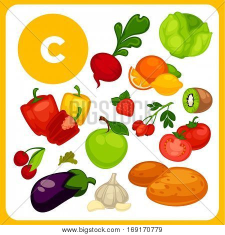 Set with illustrations of food with vitamin E. Ingredients for health: lemon, orange, strawberry, kiwi, apple. Healthy nutrition for skin, diet with product ascorbic acid sources. Vector cartoon icons