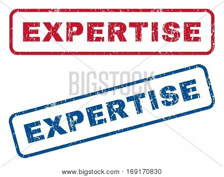 Expertise text rubber seal stamp watermarks. Vector style is blue and red ink tag inside rounded rectangular shape. Grunge design and scratched texture. Blue and red signs.