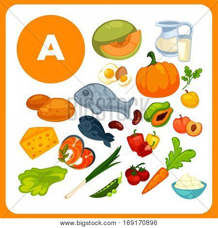Set organic food with vitamin A. Ingredients for health: cheese, cream, fish, carrot, pumpkin, egg. Healthy nutrition, diet with retinol sources: fruit and vegetables. Vector icons isolated on white