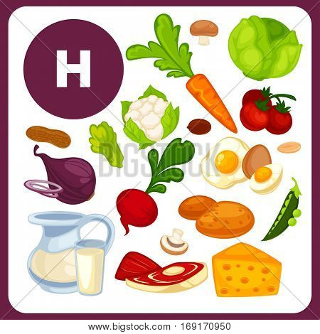 Set with illustrations of food with vitamin H. Ingredients for health: beef, beets, cabbage, carrots, cauliflower, cheese, egg. Healthy nutrition, diet with product B7 sources. Vector icons