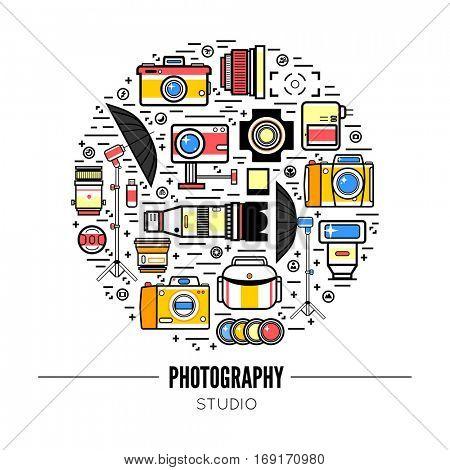 Photographer or photo studio concept design illustration. Workspace with camera, umbrella, film, lens, photo, tripod. Flat design vector