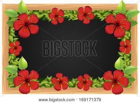Red hibicus on the wooden frame illustration