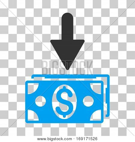Get Dollar Banknotes icon. Vector illustration style is flat iconic bicolor symbol blue and gray colors transparent background. Designed for web and software interfaces.