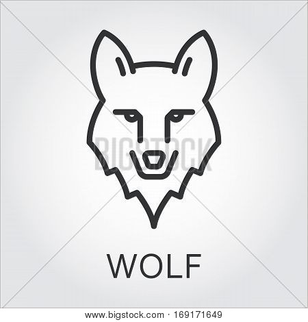 Black flat simple icon style line art. Outline symbol with stylized image of a head of a wild animal wolf. Stroke vector logo mono linear pictogram web graphics. On a gray background.