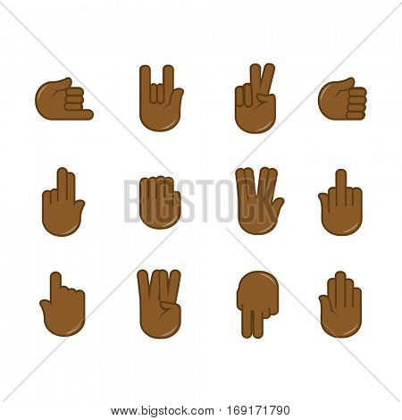 Vector set of hand gestures icons. Sign language. Signals of hands, fingers for communication. Isolated color illustration isolated on white