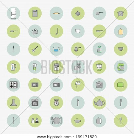 Big set of fourty two round icons of kitchen appliances in flat style. Vector illustration.