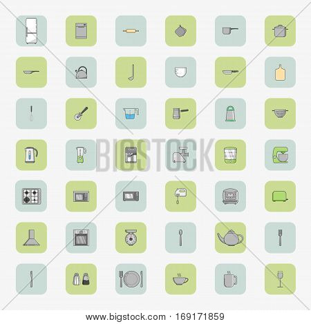 Big vector set of fourty two square icons of kitchen appliances in flat style.